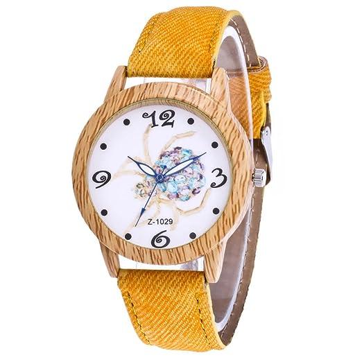 Souarts mujer Halloween reloj pulsera cuarzo Analog Reloj imitación madera araña correa de piel sintética amarillo 24 cm: Amazon.es: Relojes