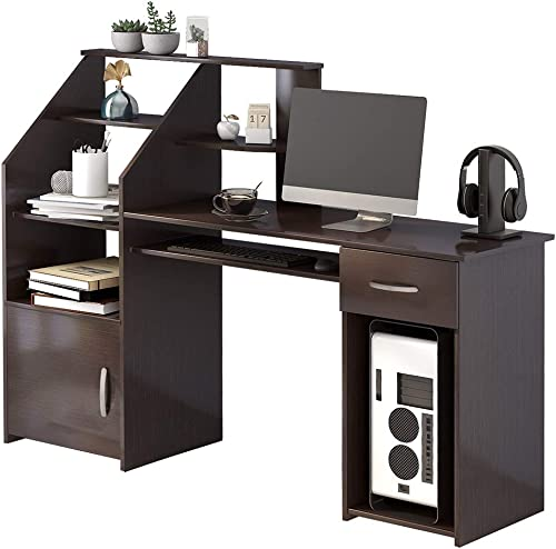 Romatlink Designs Computer Desk with Cabinet, Home Office Desk Suitable for Study, Computer Workstation, Study Writing Desk with Storage Drawer and Pull-Out Keyboard Tray, Espresso