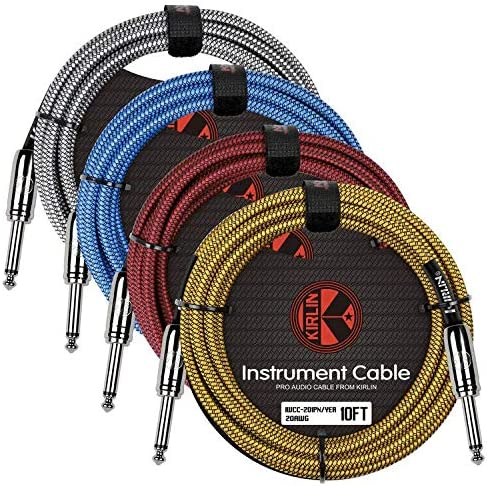 10/m Rojo Kirlin iwc201pnrd-10ft Tejido recto Cable de instrumento guitarra Cable