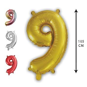 Party Globo Número Gigante en Color Dorado Metalizado Ideal para Fiesta de cumpleaños y Aniversarios - 105 cm - 40 Pulgadas - Hinchable - Tamaño ...