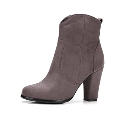 AIYOUMEI Damen Geschlossen High Heels Ankle Boots Blockabsatz Stiefeletten mit Reißverschluss Zqi9XiP