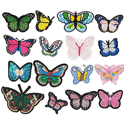 Dandan DIY Random 16pcs Embroidered Butterfly Patch Sew On/Iron On Patch Applique Clothes Dress Plant Hat Jeans Sewing Flowers Applique DIY Accessory (Butterfly)