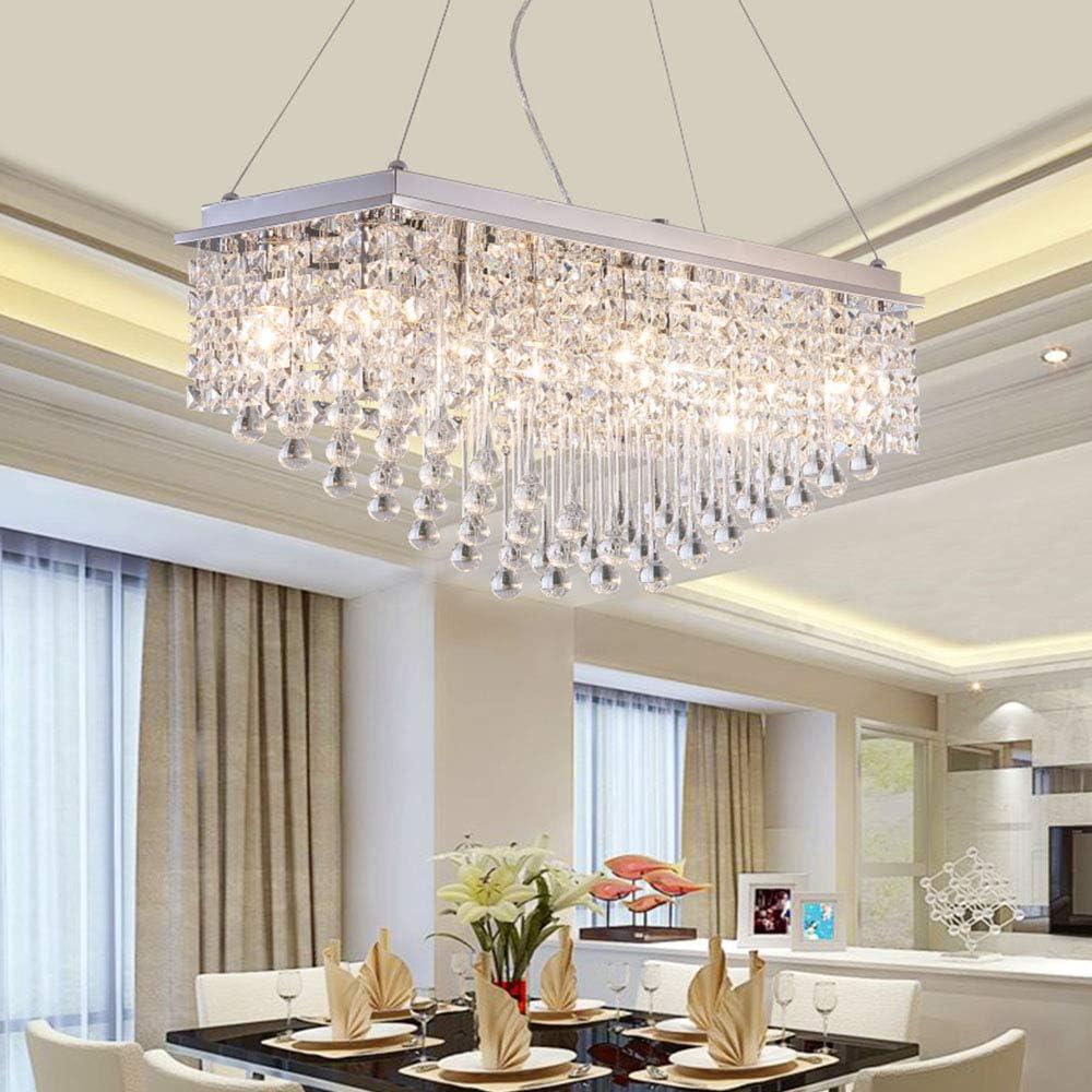 Dst Crystal Chandelier Ceiling Lights, Modern Rectangular Droplet Chandeliers Lighting Flush Mount LED Pendant Light Fixture for Dining Room,