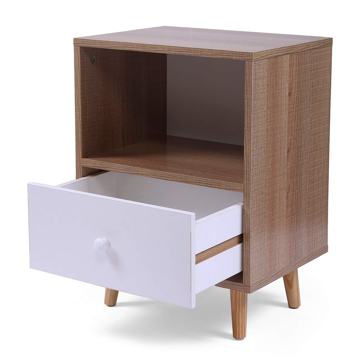 Set of 2 Night Stand 2 Layer w/Drawer Bedside End Table Organizer Bedroom by Betterhomechoice (Image #7)