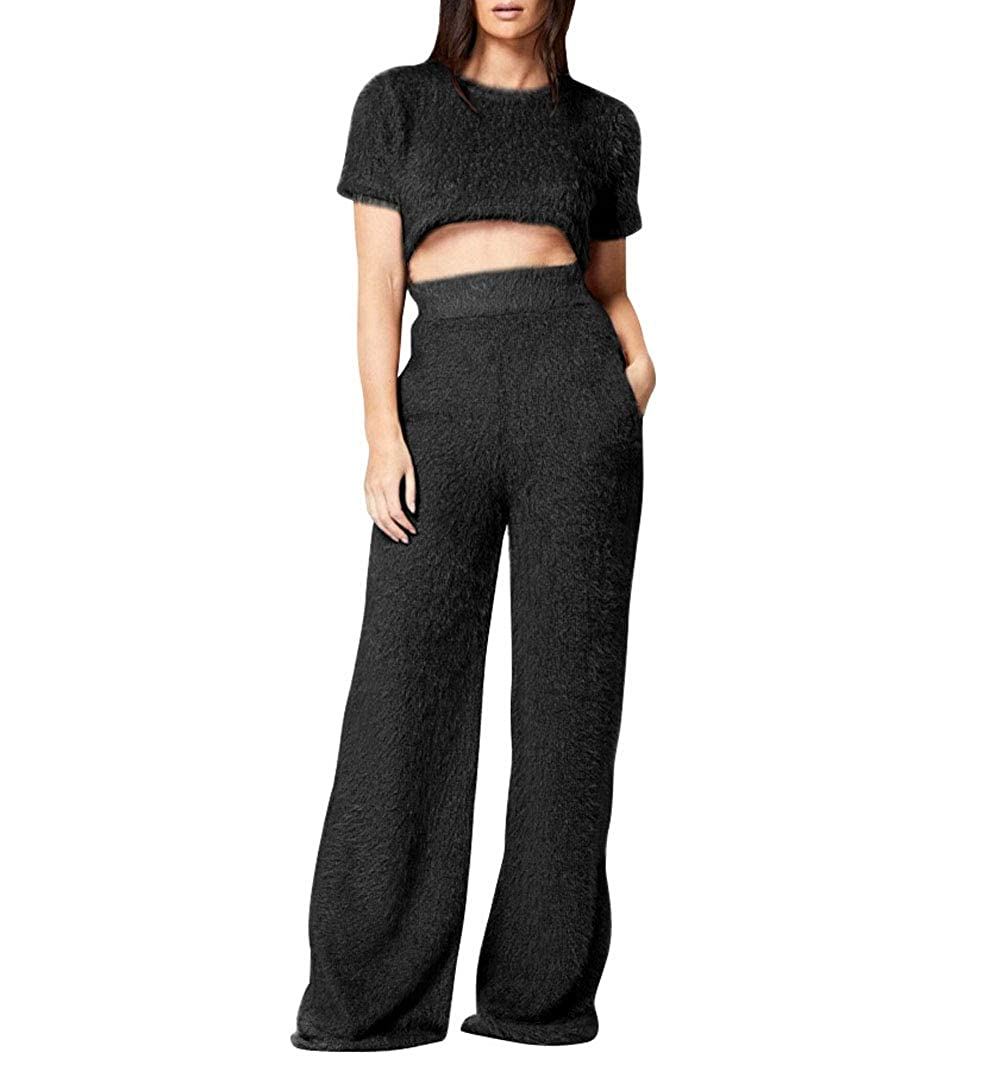 0a942e39ab0 Amazon.com  Lookwoild Womens Casual Fluffy Crop Top Wide Leg Pants  Sportswear Short Sleeve Furry 2 Pieces Suit for Winter Christmas  Clothing