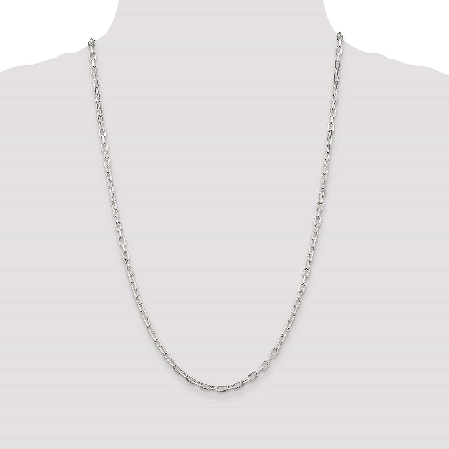 925 Sterling Silver 3.5mm Diamond-Cut Open Link Cable Chain Necklace 7-24