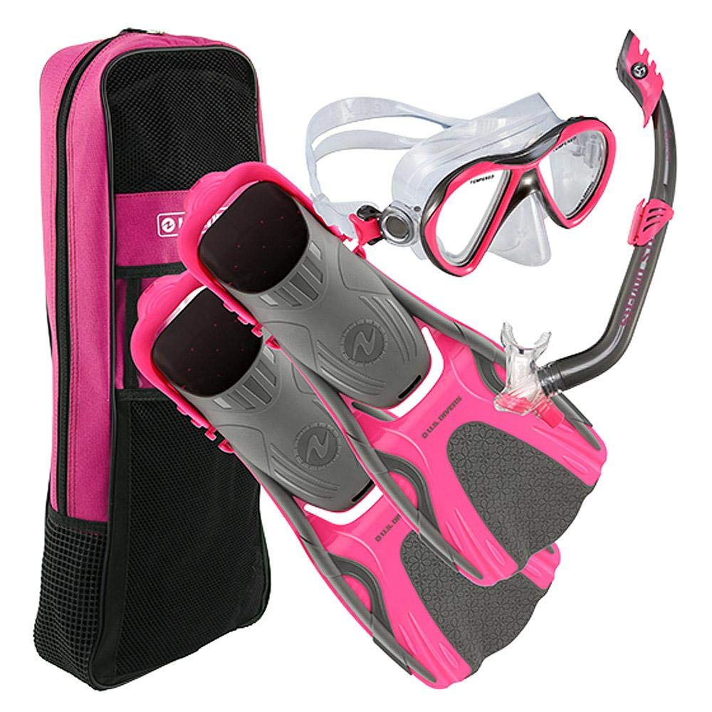 U.S. Divers Flare Jr Mask Fins Snorkel Set, Large/5-8, Gun Metal Pink by U.S. Divers