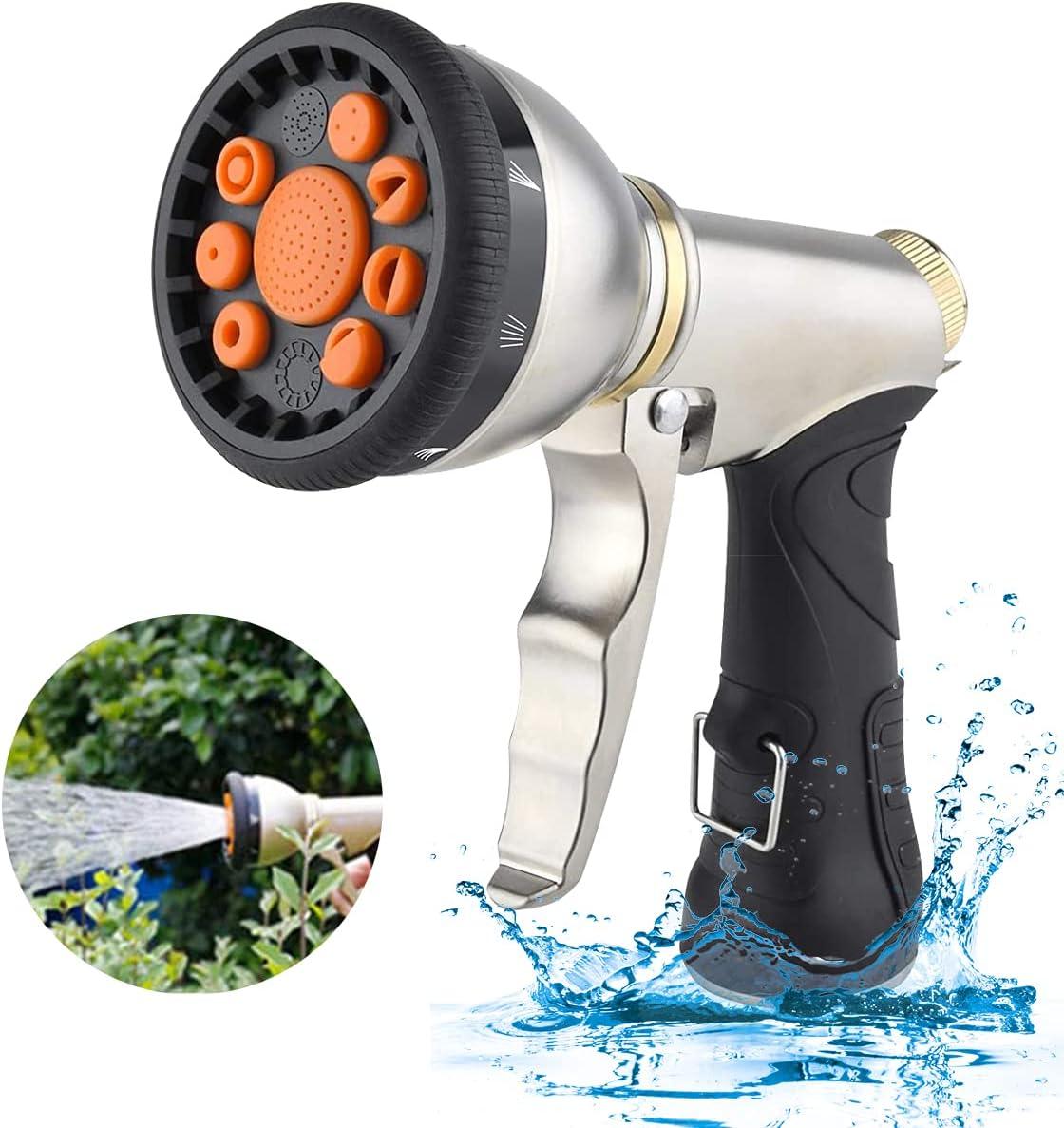 iFedio Hose Nozzle Garden Nozzle Heavy Duty Metal Hose Spray Water Nozzle,9 Adjustable Spray Patterns Pistol Grip Gun Nozzle,Best High Pressure Leak Proof Lawn Sprayer for Plants,Car Wash,Pets Shower