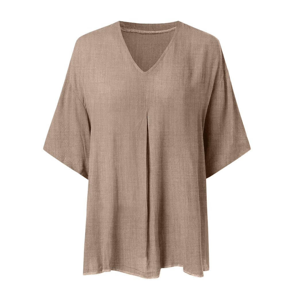 Tanlo 2019 Fashion Women Summer Solid Color Cotton Linen Vest Casual V-Neck Short Sleeve Ruffled Loose Tops Blouses (Brown, XL) by Tanlo (Image #1)