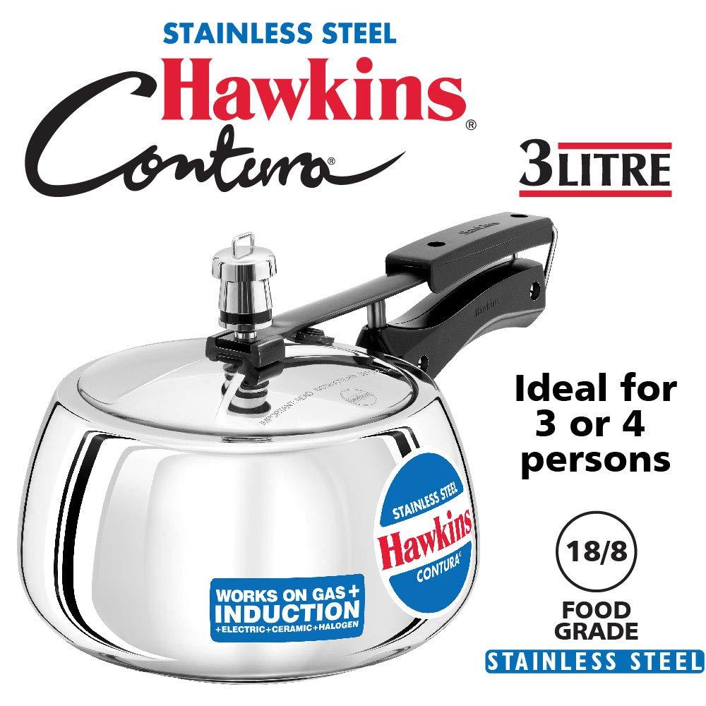Hawkins SSC30 Contura Stainless Steel Pressure Cooker, 3 Liter