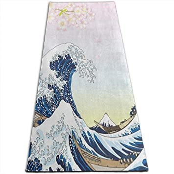 Dreamen Colchoneta de Yoga Big Ocean Wave y Cherry Blossom ...