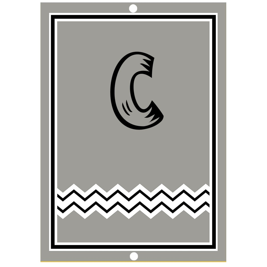 ''C '' Wood Initial Monogram Personalized Letter C Blue Room Nursery Décor METAL Sign Gray