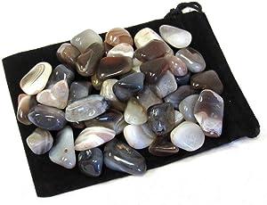 Zentron Crystal Collection: Tumbled Grey Botswana Agate Gemstones in Velvet Bag (1 Pound)