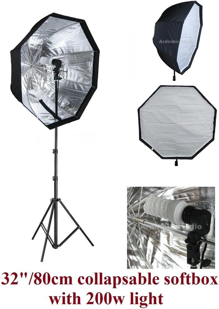 Ardinbir Studio 200W Continuous Fluorescent Light Stand Kit with 80cm 32 Portable Collapsable Easy Open Octagon Softbox Diffuser Kit