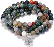 Self-Discovery 108 Natural Indian Agate Mala Beads Bracelet for Yoga Meditation