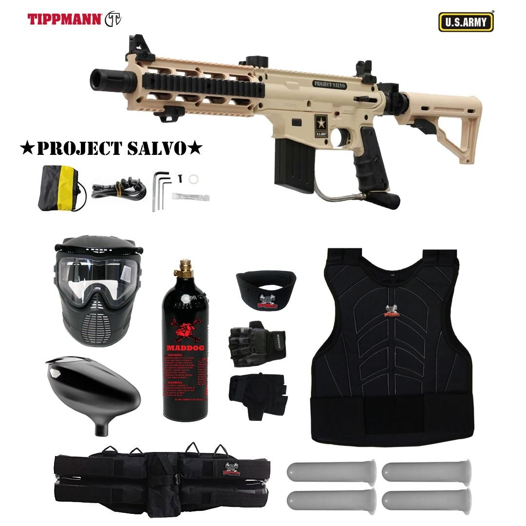 MAddog Tippmann U.S. Army Project Salvo Starter Protective CO2 Paintball Gun Package - Tan by MAddog