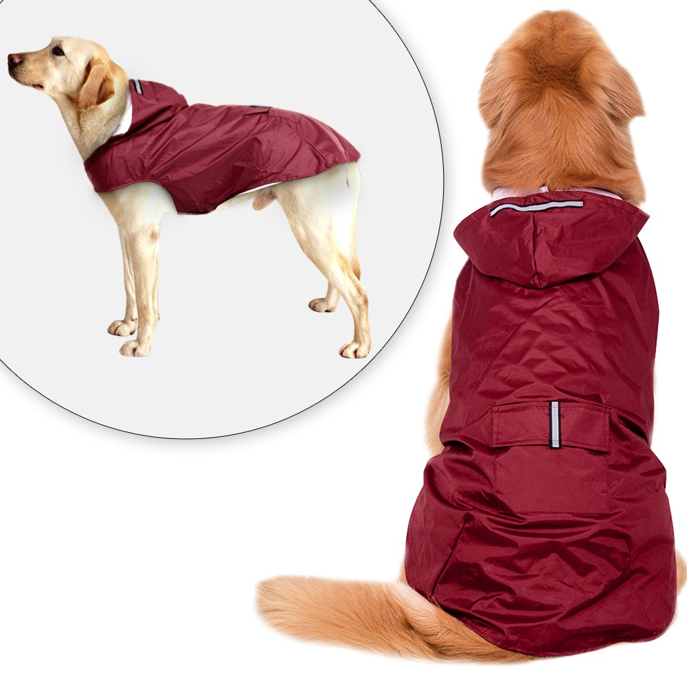 Didog Reflective Dog Raincoat,Packable Rain Poncho Rainwear Clothes for Medium Large Dogs,Wine Red,3XL