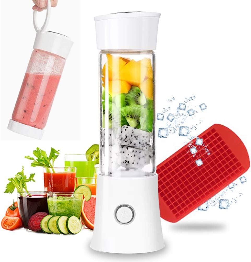 Portable Blender, Rechargeable Smoothie Blender 4000mAh Battery Strong Power Multifunctional Personal Blender with 16oz Glass Juicer Cup and Lid Mini Travel Blender for Shakes and Smoothies with Ice Tray FDA BPA Free (White)