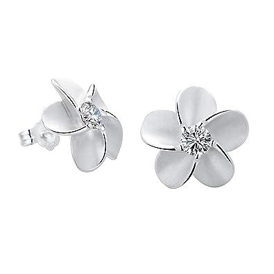 02c448b31 SILVERAGE Stud Earring Sterling Silver Flower Earrings For Women With AAA  Cubic Zirconia: Amazon.co.uk: Jewellery