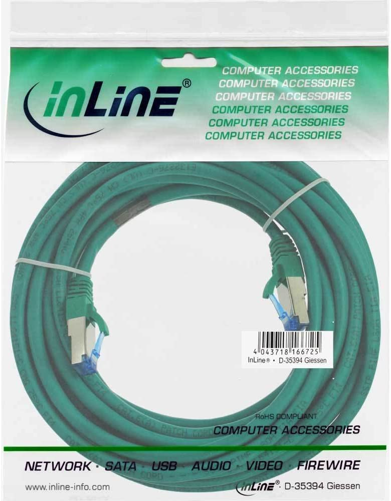 Copper PiMf 15 m Halogen-Free Cat.6A InLine Patch Cable S//FTP Green 500MHz