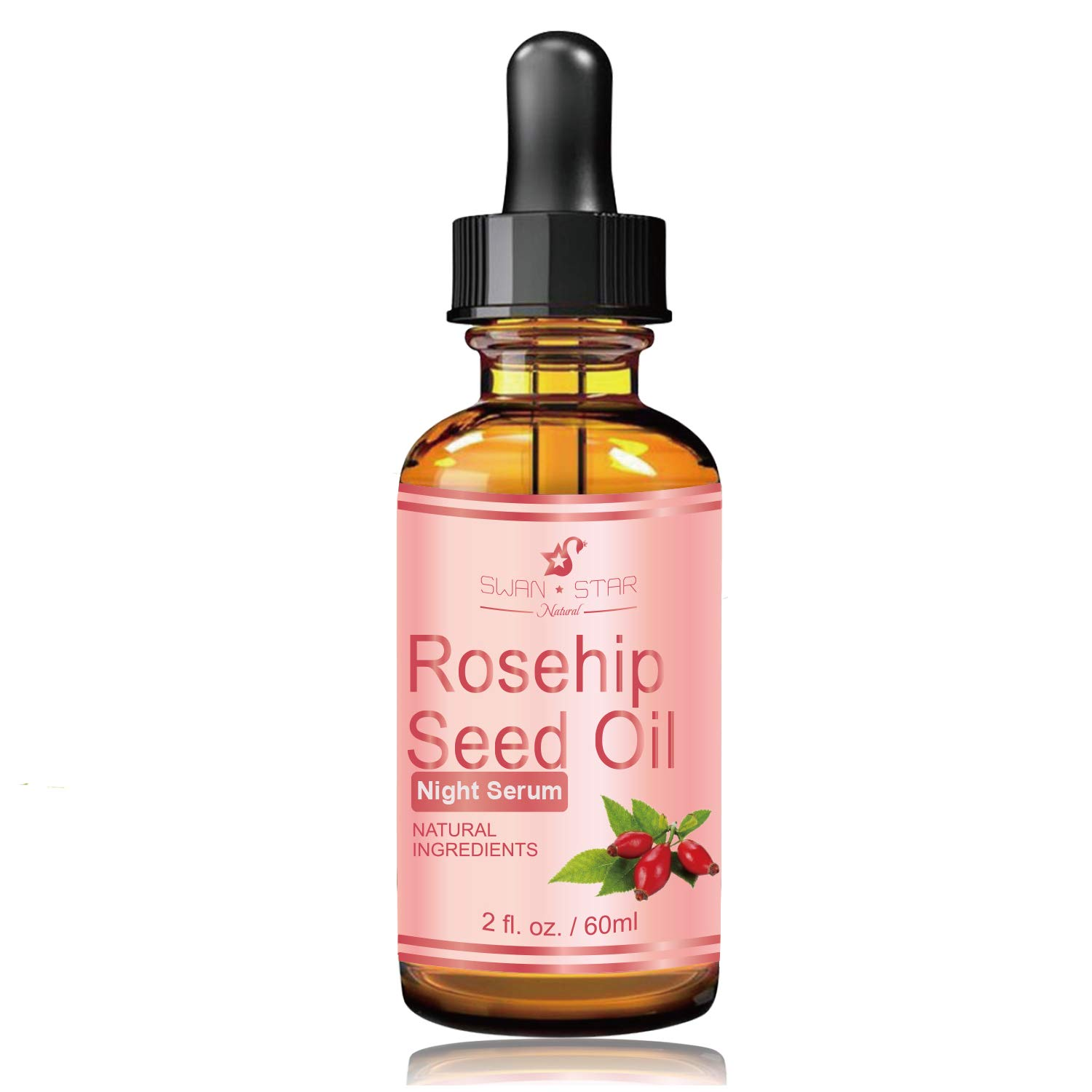 SWAN STAR Rosehip Seed Oil Serum For Face, Night Facial Skin Serum With Vitamin C, 100% Pure Natural Anti Aging Moisturizer 2 OZ