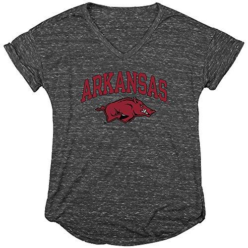 Elite Fan Shop Arkansas Razorbacks Womens Vneck TShirt Charcoal - L (Classic Arkansas T-shirt Razorbacks)