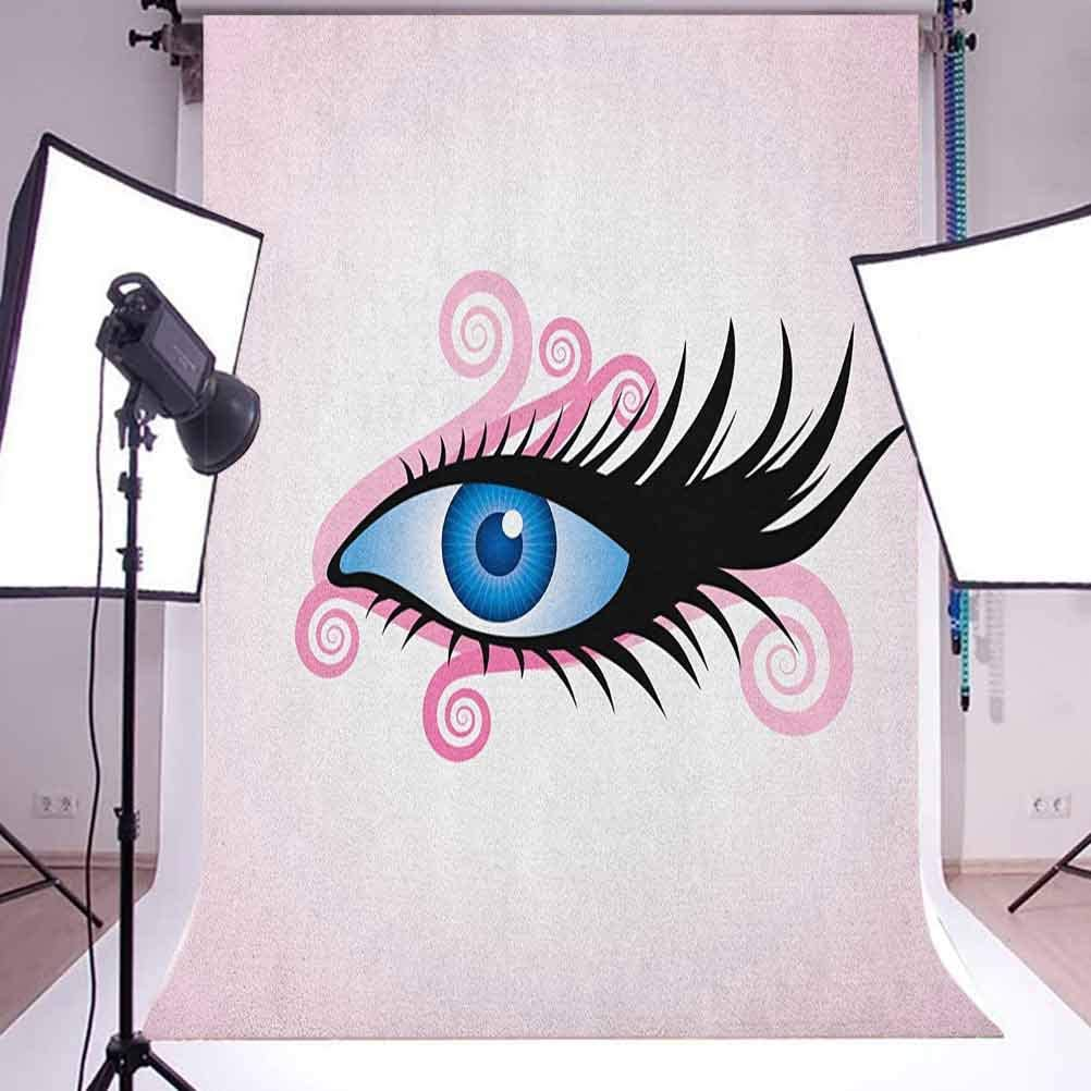 7x10 FT Eye Vinyl Photography Backdrop,Fantastic Gaze of a Woman in Graphic Style with Swirls Black Lashes on Pink Background for Party Home Decor Outdoorsy Theme Shoot Props