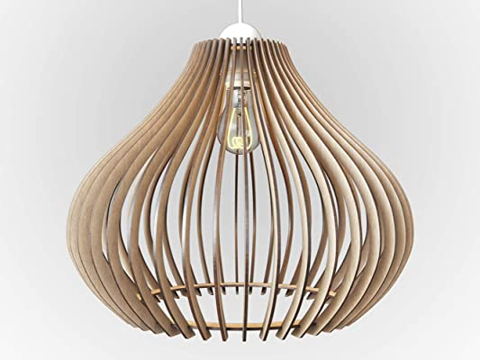Wood Ceiling Pendant Light. Modern Contemporary Hanging light fixture