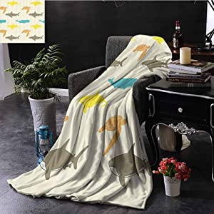 Xlcsomf Multifunctional Blanket Sea Animals Decor Pattern with Whale Sofa Blanket Shark and Turtle Aquarium Decorative Doodle Style W63 x L63