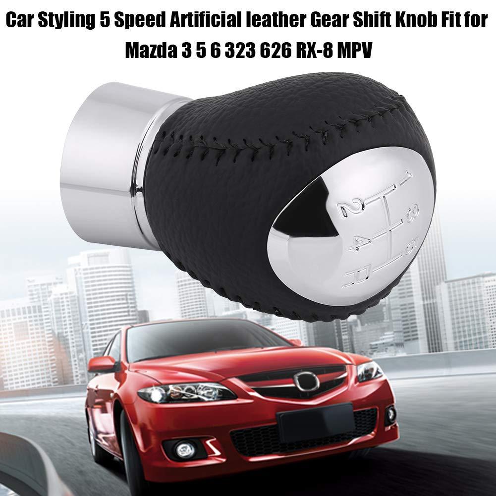 Fydun Car Shift Knob Car Styling 5 Speed Artificial leather Gear Shift Knob Shift Knob Cover Handbrake Grip Interior Decor Fit for Mazda 3 5 6 323 626 RX-8 MPV