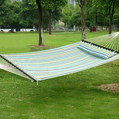 SONGMICS Hammock Quilted Fabric Double Size with Detachable Pillow Wooden Spreader Bar Heavy Duty UGDC34Q