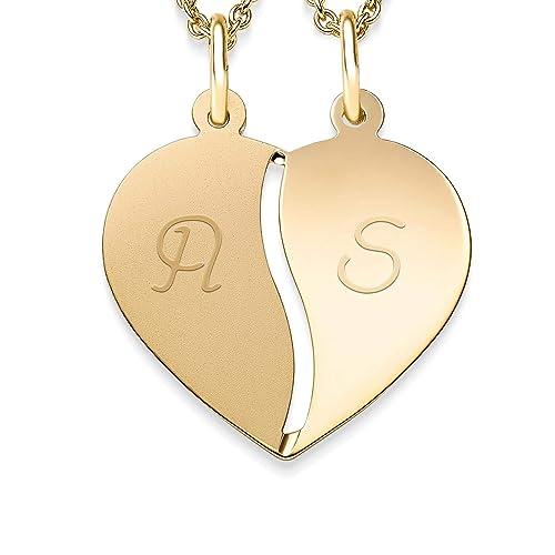 177c37d4b2a5 Corazón Cadena grabado para parejas Gold + Incluye Luxus Funda + ...