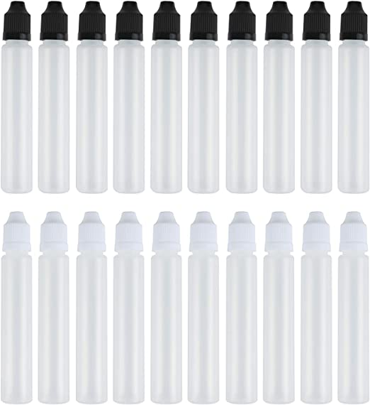 Amazon.com: z-color 20pcs 30 ml Blanco y Negro Largo Dropper ...