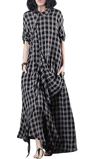 c49959ab0b0 BUYKUD Women Linen Loose Casual Polo Collar Retro Summer Pullover Plaid  Dress  Amazon.co.uk  Clothing