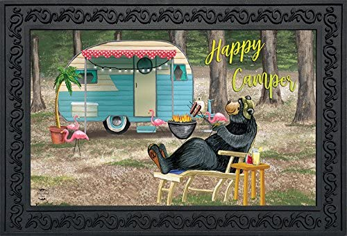 Briarwood Lane Happy Camper Bear Summer Doormat Indoor Outdoor Camping 18 x 30