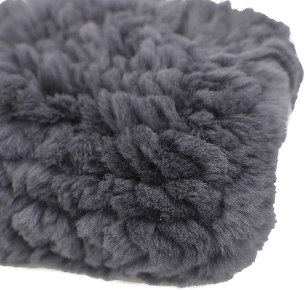 Yosang Genuine Knitted Rex Rabbit Fur Wrist Guard Sleeve Winter Mittens Fingerless Gloves