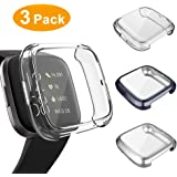 3 Pack Screen Protector Compatible Fitbit Versa 2 Case, GHIJKL Ultra-Thin Slim Soft TPU Protective Case All-Around Full Cover Bumper Shell for Fitbit Versa 2 Smart Watch, Clear, Gray, Silver