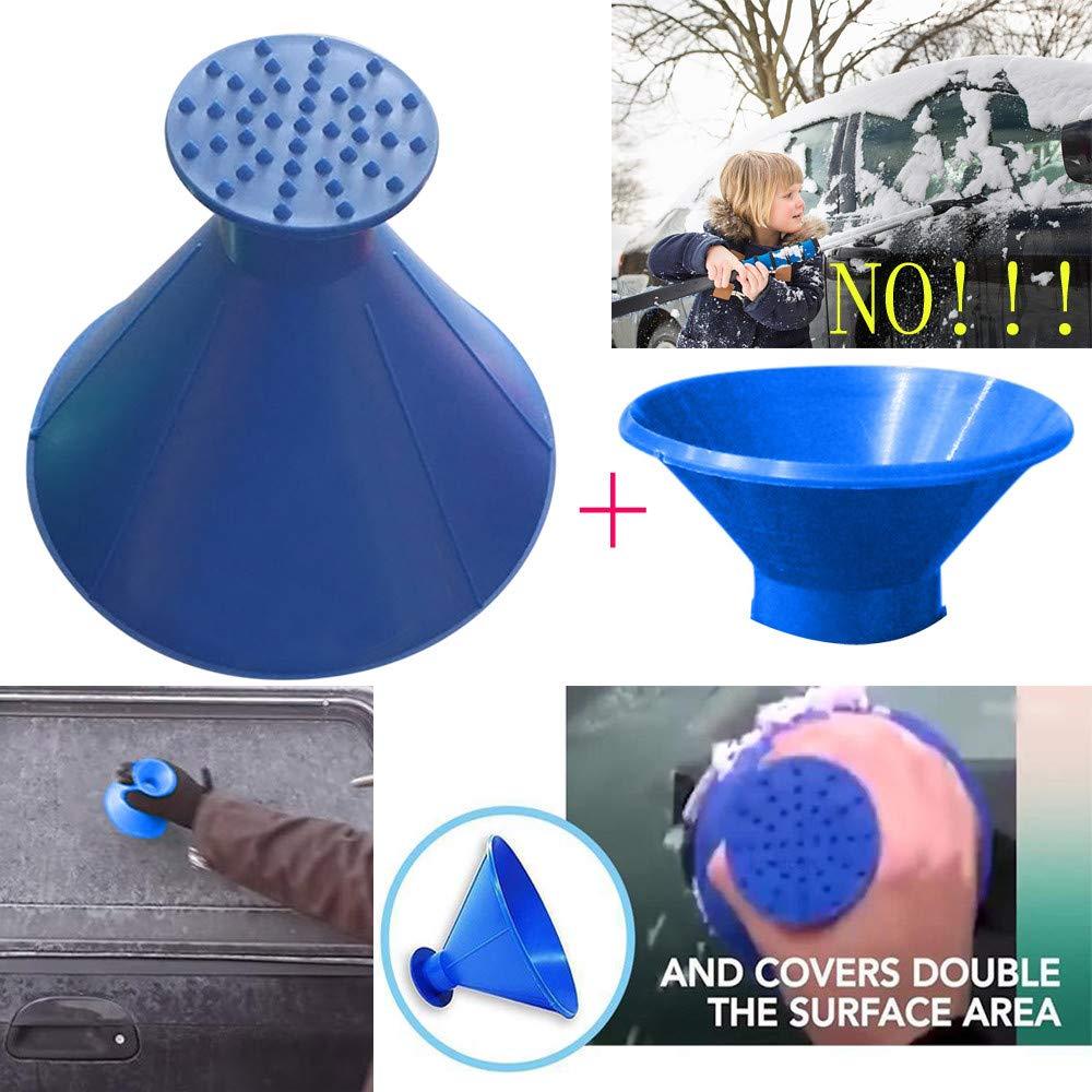 NEEDRA Kratzen Sie EIN rundes magisches kegelfö rmiges Windschild-Eiskratzer-Schneeschaufelwerkzeug (Blau) 15698