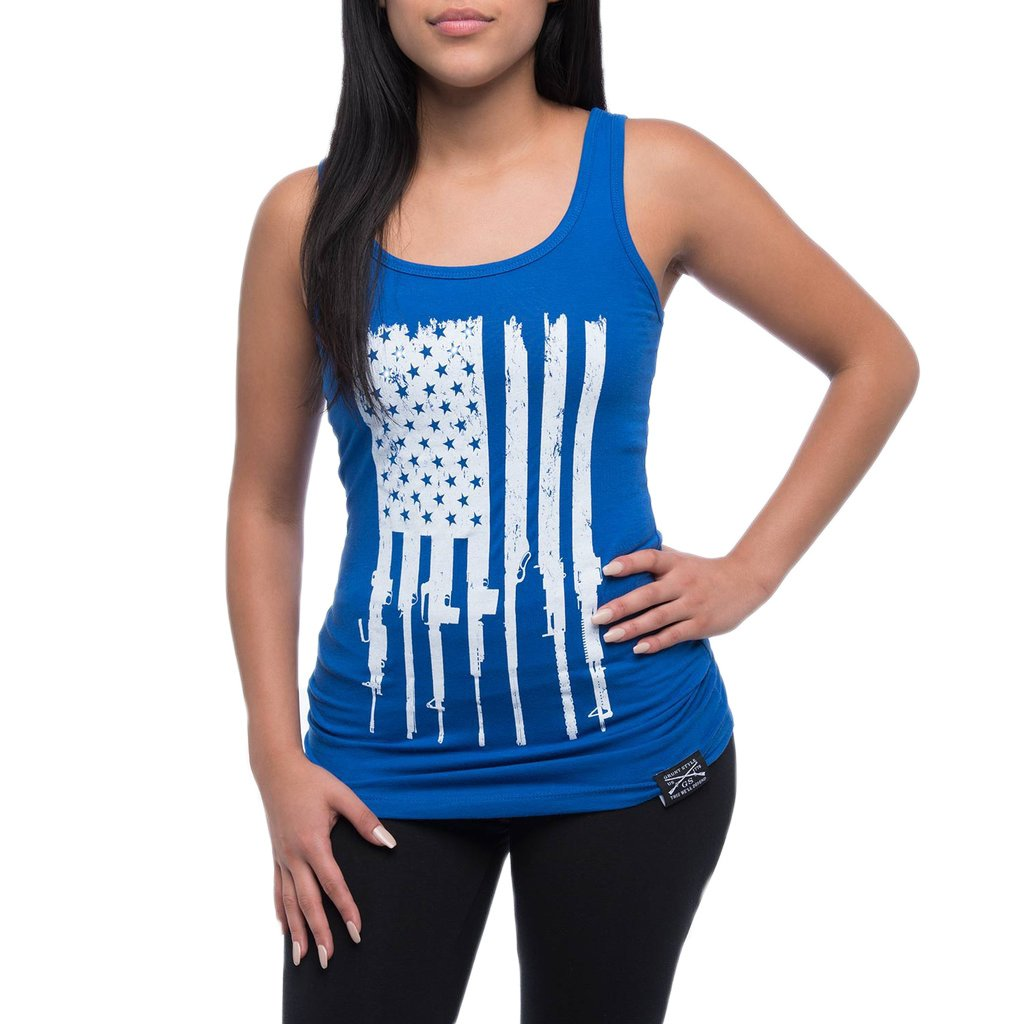 Grunt Style Rifle Flag Ladies Tank Top, Color Blue, Size X-Large by Grunt Style