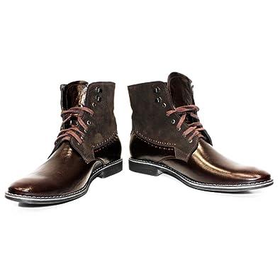 35a9d1af033bcc Modello Cowbino - 39 - Handgemachtes Italienisch Leder Herren Braun Stiefel  Stiefeletten - Rindsleder Wildleder -
