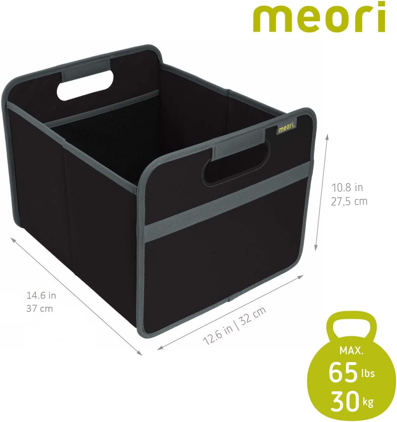 meori Black Foldable Boxes Medium Lava 2-Pack Organize Carry up to 65lbs Storage Basket Car Trunk 6.5 Gallon Shopper