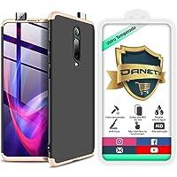 Kit Capa Capinha Anti Impacto 360 Full Para Xiaomi Mi 9t Redmi K20 e K20 Pro - Case Acrílica Fosca Com Película De Vidro Temperado - Danet (Preto com dourado)