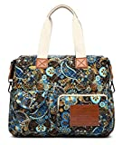 Malirona Canvas Shoulder Bag Travel Handbag Women Top Handle Satchel Crossbody Purse Floral Design (Black Flower)