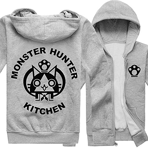 Rain's Pan Anime Monster Hunter Cosplay Costume Fleece Hoodies Sweatshirt Jacket Coat (US M=Asia XL, grey (Monster Hunter Cosplay Costume)
