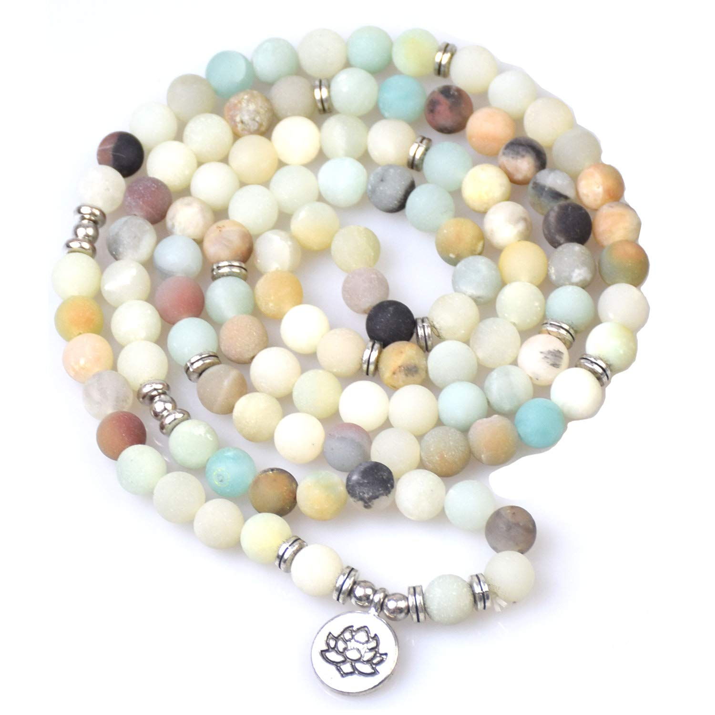 Summer Win 8mm 108 Amazonite Mala Beads Yoga Necklace Bracelet for Men Women for Yoga Buddhist Rosary Prayer Natural Gemstone Agate Jade (Amazonite Lotus)