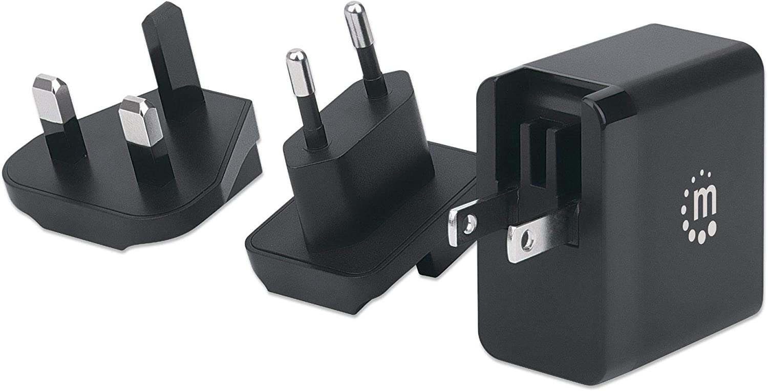 Manhattan 65 W USB-C GaN Tech Power Delivery (PD) Wall Charger – 1 Port, Ultra Compact, Changeable US, EU & UK Plugs for Travelers-Fast Charge iPhone, Edge, Galaxy, Note, Pixel, Tablet, Laptop & More