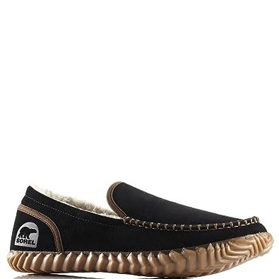 Mens Sorel Dude Moc Loafer Warm Suede Moccasin Slipper Fur Lined Shoes -  Black - 8