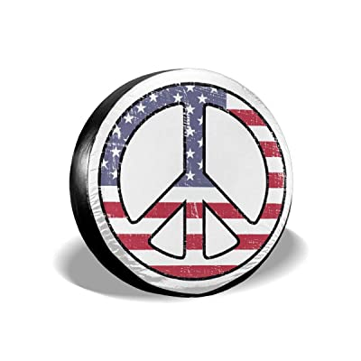 ULNL American Flag Peace Sign Spare Wheel Tire Cover Funny Waterproof Tire Protectors Novelty: Clothing