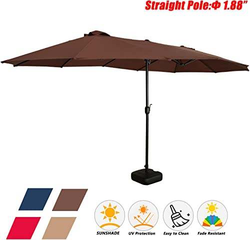 Festival Depot 14.7 ft Patio Outdoor Double-Sided Umbrella Large Twin Market Ventilation Aluminum Crank