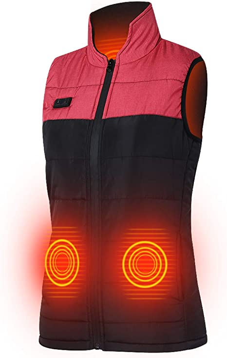 Keymao Heated Vest Winter Warm Heated Gilet Charged Heated Jacket for Outdoor Camping Skiing Hiking Travel